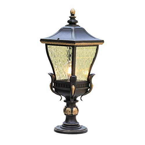 SPNEC Lámpara de Cabeza de Columna de Estilo Europeo, lámpara de Cabeza de Pared de Muelle de Puerta de jardín Simple Impermeable, lámpara de Pared de Patio al Aire Libre de Villa Americana