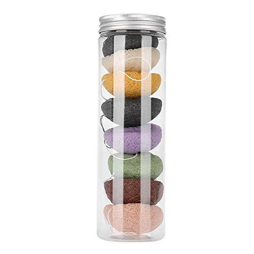 Huante Konjac Lot de 8 éponges rondes de couleur 100 % Konjac pour laver le visage et le corps