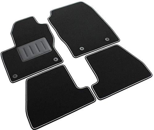 Das Teppich Auto, sprint01305, Fußmatten Teppiche Schwarz rutschfest, verstärkter Rand, zweifarbig, Absatzschoner aus Gummi, Focus III 2011> 2015Facelift 2015>.