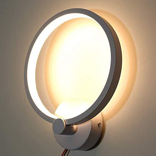 Lightess 12W Lámparas de Pared Modernas Lámpara de Pared LED para Interiores Panel Redondo Lámpara de Pared con Pantalla Blanca Lámparas de Pared Ajustables Interior para Sala de Estar Dormi