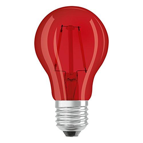 OSRAM LED Star Classic A Décor Red / LED-Lampe in Kolbenform mit E27-Sockel / Dekoratives rotes Licht und Design / 1.6 W / Ersetzt 15 Watt / 1er-Pack