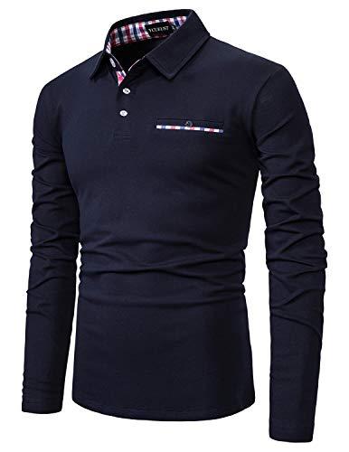 YCUEUST Cotton Reticolo Polo Uomo Manica Lunga Basic Golf Casual T-Shirt Blu XL