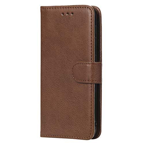 WIWJ Hülle für Samsung Galaxy A20E Tasche Flip Braun - Rein Farbe Ledertasche Wallet Case mit Kartenhalter Abnehmbar Magnet Backcover Detachable Schutzhülle für Galaxy A20E Handyhülle