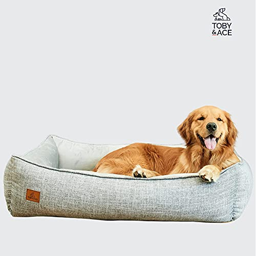 Toby & Ace Buddy DeepSleep Orthopedic Bed with Free Signature Leash - Veterinarian Approved Memory Foam Dog Bed - Therapeutic Design for Anxiety & Pain - Washable, Durable Cover (Large)