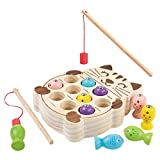 Fine Wooden Toys for Kids Magnetic Board Fishing Game,Cats Shape Design Board Wooden Toys Fishing Educational Creative Education Toy (As Shown)
