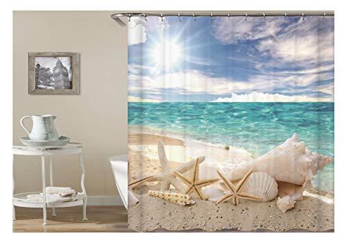 SonMo Duschvorhang Polyester Bunt 3D Seestern, Muscheln, Strand Anti-Schimmel Wasserdicht Bad Vorhang für Badezimmer Badewanne mit Duschvorhangringen Als Trennwand 120X180CM
