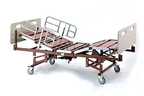 Invacare 750 lb. Capacidad de peso | Cama bariátrica de servicio pesado con rieles de cama de media longitud | Cama de hospital eléctrica completa para uso doméstico