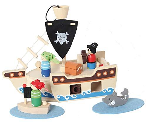 Inware 22740 - Piraten Schiff, 10-teilig, Holz, Spielset