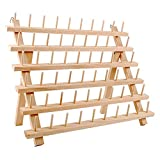 NW Wooden Thread Holder Sewing and Embroidery Thread Rack and Organizer Thread Rack for Sewing with Hanging Hooks(60-Spool)