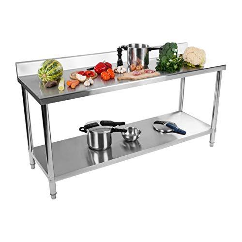 Royal Catering Table De Travail Cuisine Plan Professionnel Table Préparation Confection Boucher Avec Tablette Étagère RCAT-180/60-S (Capacité : 182 kg (150 kg + 32 kg), Pieds Réglables, Inox)