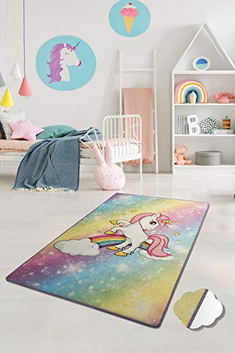 Creative Home | Tappeto per cameretta dei bambini, motivo unicorno, lavabile, dimensioni: 100 x 160 cm