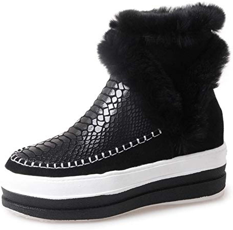 MENGLTX High Heels Sandalen Mode Neue Frauen Stiefeletten Keile High Heels Winter Warme Schneeschuhe Reiverschluss Leder Qualitt Freizeitschuhe Frau