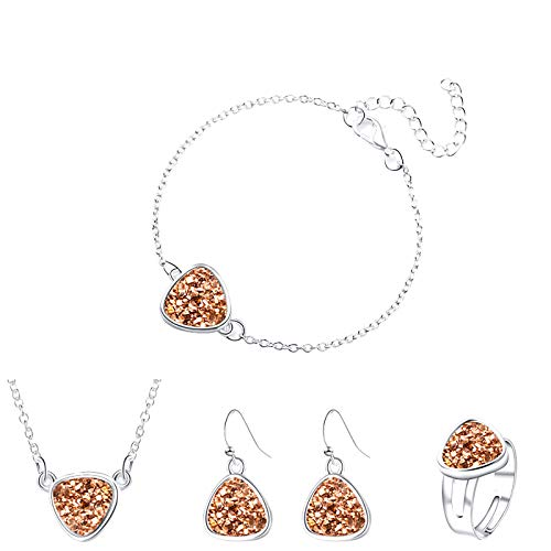 Janly Clearance Sale Women Jewelry Sets , Fashion colorful crystal cluster accessories hand accessories earrings set , Jewelry Sets , Valentine's Day (Brown)