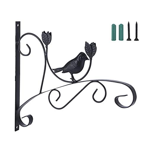01 Soporte de Planta, Hierro Forjado Soporte de Planta Colgante Soporte de Pared Colgador de macetero para Colgar Alimentador de pájaros Linterna Carillón de Viento, Decoración Interior y
