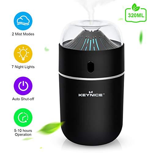 KEYNICE - Umidificatore USB da 320 ml, umidificatore a ultrasuoni con 7 luci notturne colorate, umidificatore silenzioso senza acqua, auto-spegnimento, umidificatore portatile da viaggio