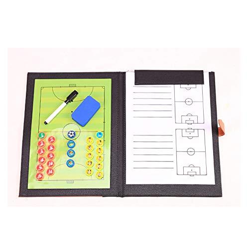 GJJSZ Tablero táctico de fútbol Sala,Tablero de enseñanza de fútbol magnético Plegable Utilizado para el diseño de tácticas de Entrenamiento de Juegos de fútbol con Piezas de ajedrez magnéticas