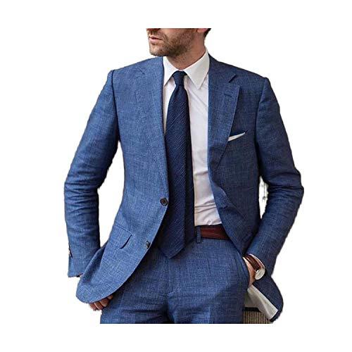 Outwear Azul Verano Playa Lino Hombres Traje 2020 Slim Fit 2 Piezas Esmoquin Personalizado Blazer Novio Masculino Trajes Chaqueta+Pantalones