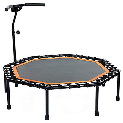 48' Mini Trampoline Fitness Rebounder with Adjustable Armrest, Small Gym Trampoline for Indoor Fitness, Bungee Rope Design System, Best Choice for Aerobic Exercise