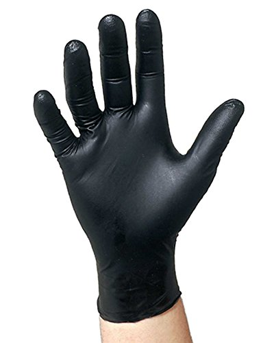 Black Nitrile Disposable Gloves Powder Free Textured Fingertips 4.5 Mil Thickness Latex Free Medical Examination Glove-Size 2X (90 Pack of Gloves)