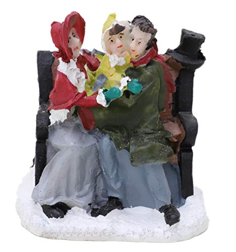 Toyland Mini Resin Christmas Collectible Ornament - Village Scene Accessories - Christmas Figures (Couple & Baby 2 Inch)