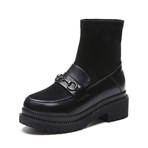 Shukun platte schoenen voor dames met vlakke bodem, korte laarzen, dunne sokken, modieus, plat, voor dikke bodem met winter