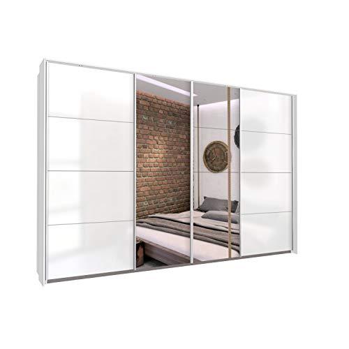 Bloomwood KUMOX Kleiderschrank, moderner Schwebetürenschrank 315 cm breit, 210 cm hoch 4-türig mit Einlegeböden und Kleiderstangen, Made in Germany, Hochglanz Weiß mit Spiegeltür und Passepartout