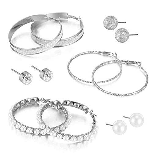 ZLHZYP arete, 6 pares de pendientes de aro de círculo grande de color dorado vintage para fregar pendientes de perlas pendientes de oreja joyería de fiesta para mujeres, plateado