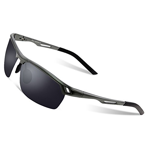 DUCO Herren Sport Stil Polarisierte Sonnenbrille Metallrahmen Brille 8550 (Gunmetal/Grau)