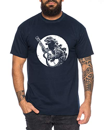 Tee Kiki Godzilla Rocks Maglietta da Uomo Gojira Japan Nippon Kaiju Kanji Tokyo Shirt, Farbe2:Blu Scuro, Größe2:Medium