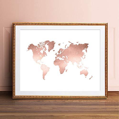 EBONP Wand dekorative Leinwand Malerei Rose Gold Wold Karte Print Office Decor, ModerneWeltkarte Poster Leinwand Malerei für Wohnzimmer Home Wandkunst Bild-24x40inch