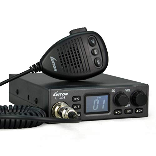 LUITON CB Radio LT-308 Compact Design with External Speaker Jack, Large Easy to Read LCD Display (Black)