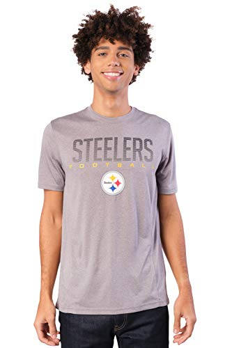Ultra Game NFL Pittsburgh Steelers Mens Active Tee Shirt, Alternate Heather Gray, XX-Large