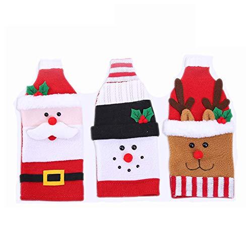 Bottiglia di vino della bottiglia del sacchetto del vino rosso di Natale Hat Cover Bag Dress Xmas tessuto per Bottiglia di birra Capodanno del partito della casa della decorazione della Tabella,3pack