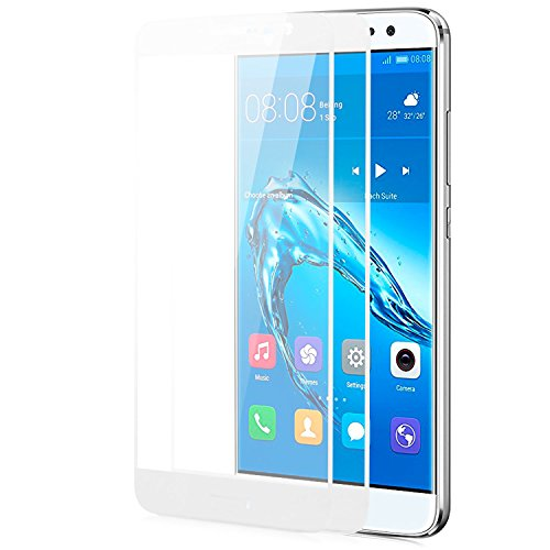 zanasta 2X Bildschirmschutz Folie kompatibel mit Huawei Nova Plus Schutzfolie aus gehärtetem Glas [Vollständige Abdeckung] Verb&glas (3D Full Cover/abger&et) 9H Kristallklar - Weiß