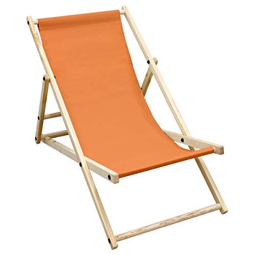 ECD Germany Sedia Sdraio Pieghevole in Legno di Pino e Tessuto Oxford - fino a 120 kg - Colore Arancione - Lettino Prendisole Spiaggia Balcone Giardino Terrazza Piscina Spiaggina da Esterno Resistente