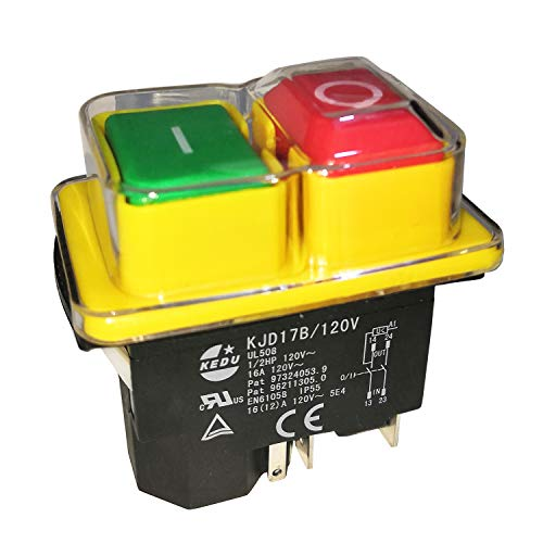 KJD17B/120V KEDU 120V 16A 5Pin 1/2HP Industrial Electric Waterproof Pushbutton Switches