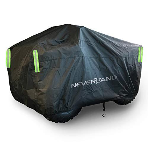 Quad ATV Abdeckplane Wasserdicht NEVERLAND Fahrzeug Abdeckung ATV Schutz Cover 210D Oxford Stoff mit Reflektierende Streifen und Gummibänder Winterfest Staub Regen UV-Schutz...