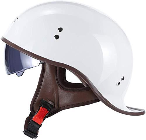 Casco de moto retro de media cáscara Jet casco casco casco de motocicleta scooter casco de motocicleta con certificación ECE/DOT 2, XL = 61-62 cm