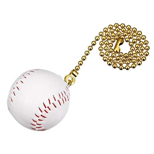 YeVhear - Colgante de béisbol blanco con cadena de tracción de cobre de 12 pulgadas para ventiladores de techo