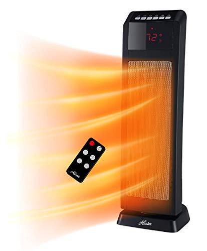 "Hunter HPQ15C-EA 1500W Digital Ceramic Tower Heater with Remote Control, 24"", Black"