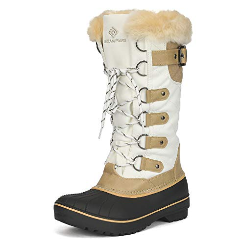 DREAM PAIRS Women's DP-Avalanche Beige White Faux Fur Lined Mid Calf Winter Snow Boots Size 6 M US