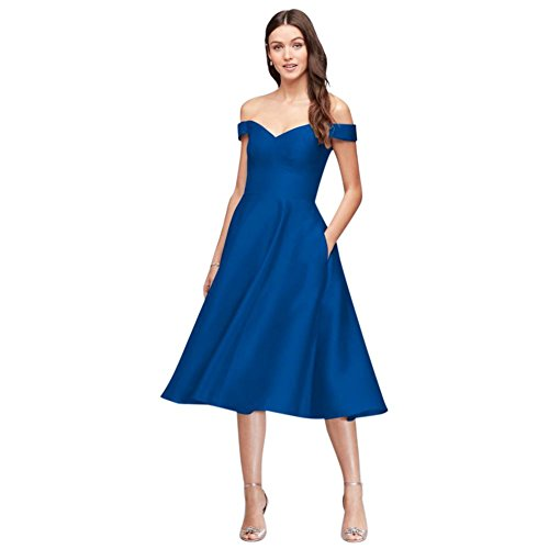 David's Bridal Off-The-Shoulder Tea-Length Bridesmaid Dress Style F19743, Horizon, 20