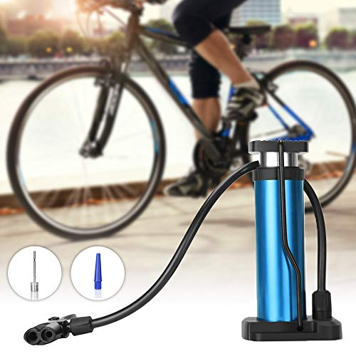 Aibrisk Bike Pump, Mini Bike Pump Fits Presta Schrader Valve Bicycle Pump with High Pressure up to 120PSI Portable Bike Tire Pump for Basketballs Footballs Racing Bike and Mountain Bike (Blue)