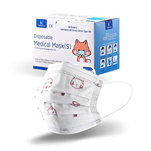 50 Foxxy - Chirurgische Masken für Kinder - Mundschutz Maske Kinder 3-lagig Einwegmasken - Typ II Atmungsaktiv - Norm EN14683:2019 - Einweg-Gesichtsmasken Staubschutz Schutzmaske für Kinder