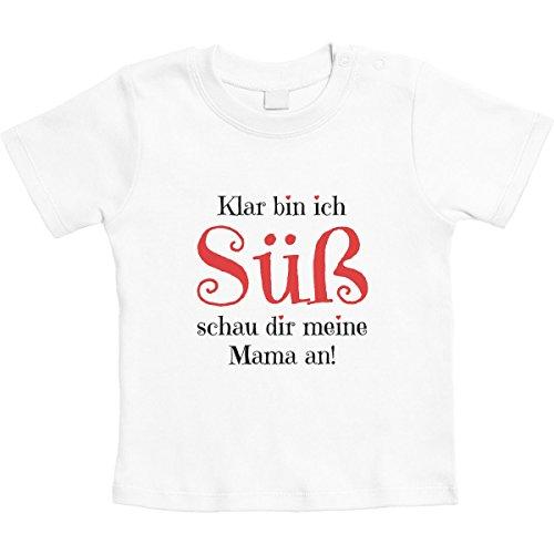 Mädchen - Klar Bin ich Süß schau dir Meine Mama an Unisex Baby Thirt 6-12 Monate Weiß