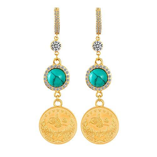 Münze Allah Ohrringe Arabisch Muslim Gold Farbe Kristall Kreis Tropfen Ohrringe Für Frauen Religiöser Islam Islamischer Schmuck