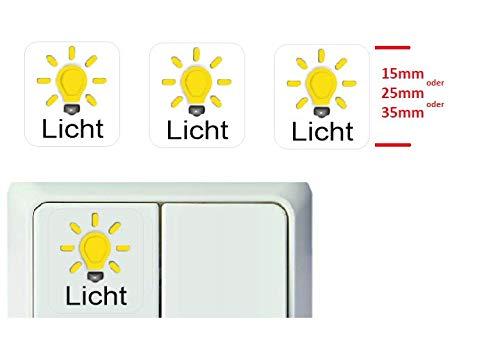 Generisch 3 Stück Schalter Aufkleber Licht Symbol Schalteraufkleber (RT25/11) (25 x 25 mm)