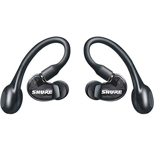 Shure AONIC 215 True Wireless, Kabellose, Sound Isolating Ohrhörer, Premium Sound mit tiefen Bässen, Bluetooth 5, Komfortable sicherer Sitz über dem Ohr, lange Akkulaufzeit mit Lade-Case, Schwarz
