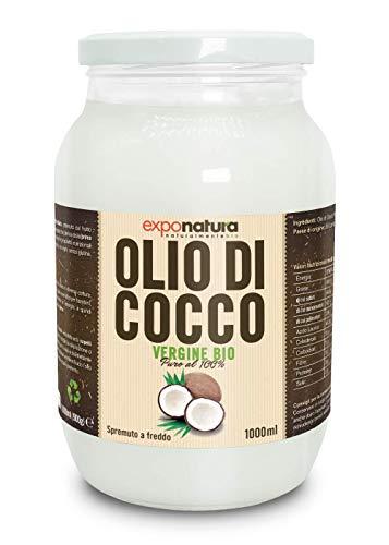 Olio di Cocco Biologico Premium 1000ml - Puro al 100% - Crudo e Spremuto a Freddo dal Frutto Fresco - Non Raffinato - Ad Uso Alimentare - Ideale sui Capelli e Corpo - Origine Sri Lanka - Exponatura