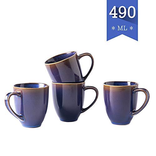 Hoteck Kaffeetassen aus Porzellan, 4er Set 490ml Kaffeebecher, Groß Tassen Set(Blau)